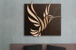 Hummingbird Wood Sculpture by Shaun Thomas