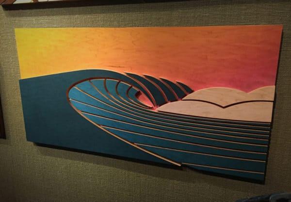 coastal home decor - surf art - wood sculptures - things to do at laguna beach - laguna beach sunsets - surf decor